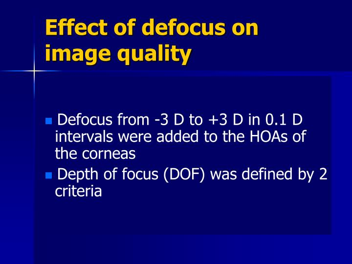 Effect of defocus on image quality