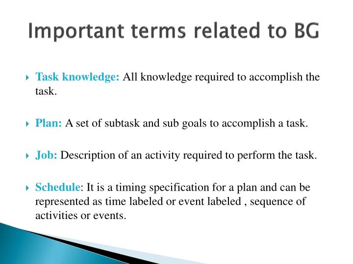 Important terms related to BG