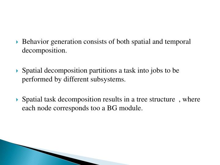 Behavior generation consists of both spatial and temporal decomposition.