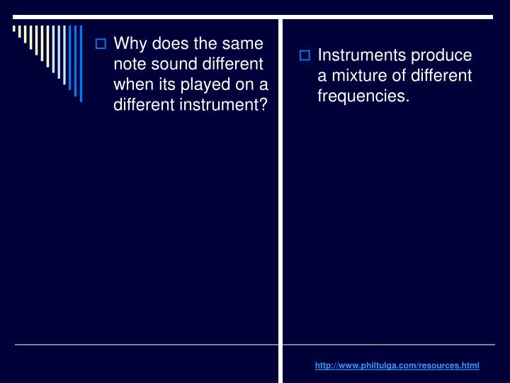 Instruments produce a mixture of different frequencies.