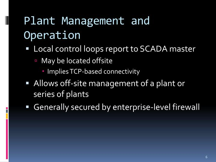 Plant Management and Operation
