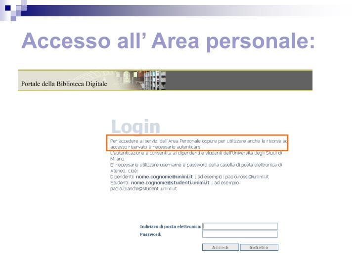 Accesso all' Area personale: