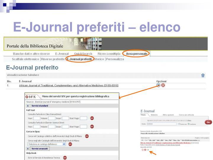 E-Journal preferiti – elenco