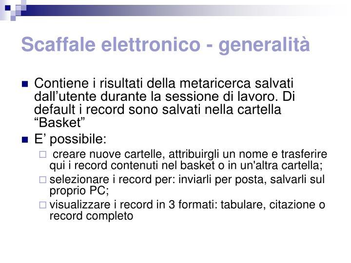 Scaffale elettronico - generalità