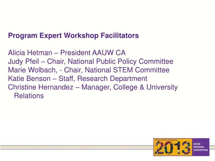 Program Expert Workshop Facilitators