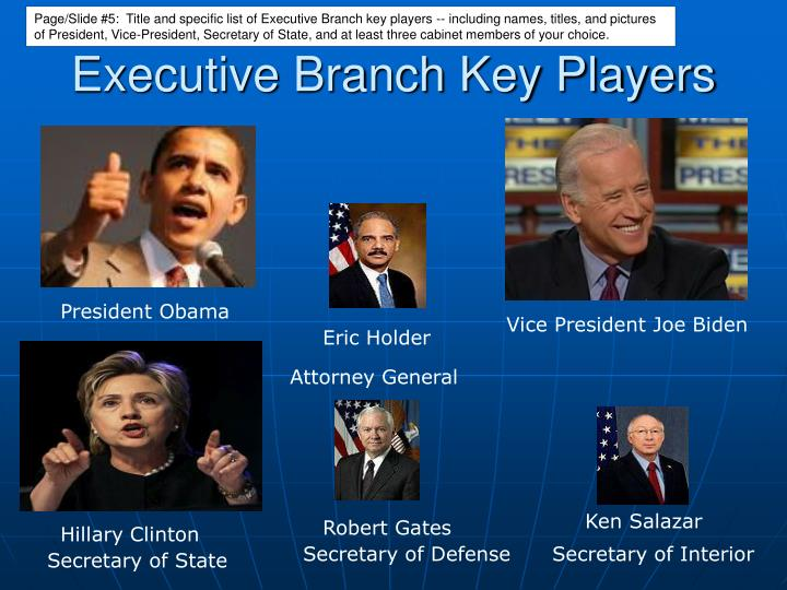 Page/Slide #5:  Title and specific list of Executive Branch key players -- including names, titles, and pictures of President, Vice-President, Secretary of State, and at least three cabinet members of your choice.