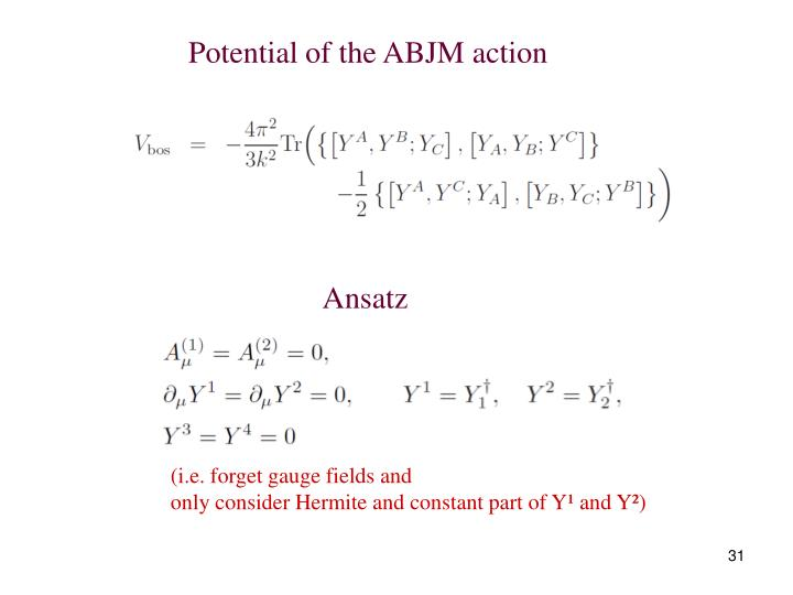 Potential of the ABJM action