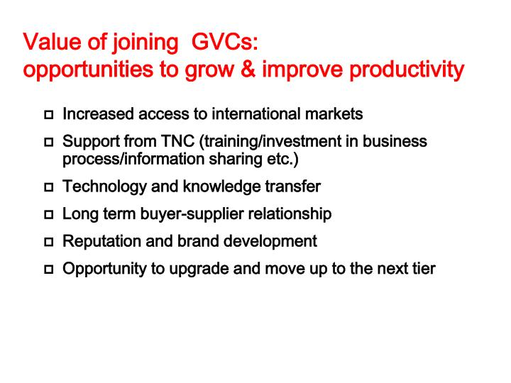 Value of joining  GVCs: