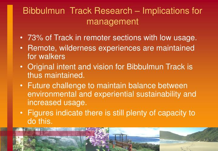 Bibbulmun  Track Research – Implications for management