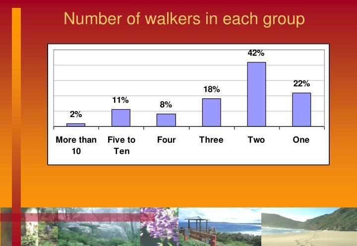 Number of walkers in each group