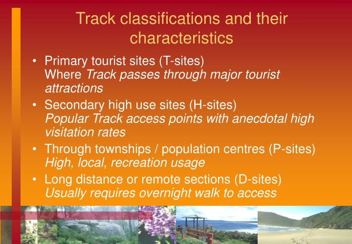 Track classifications and their characteristics