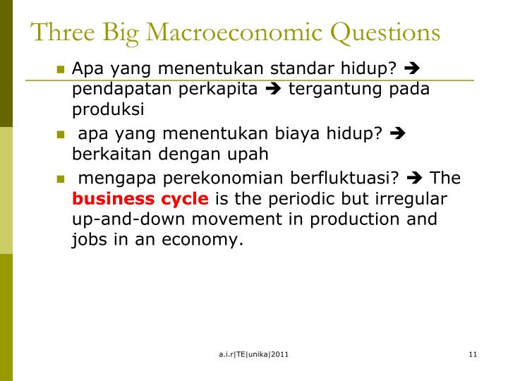 Three Big Macroeconomic Questions