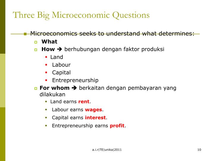 Three Big Microeconomic Questions