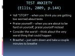 test anxiety ellis 2009 p 144