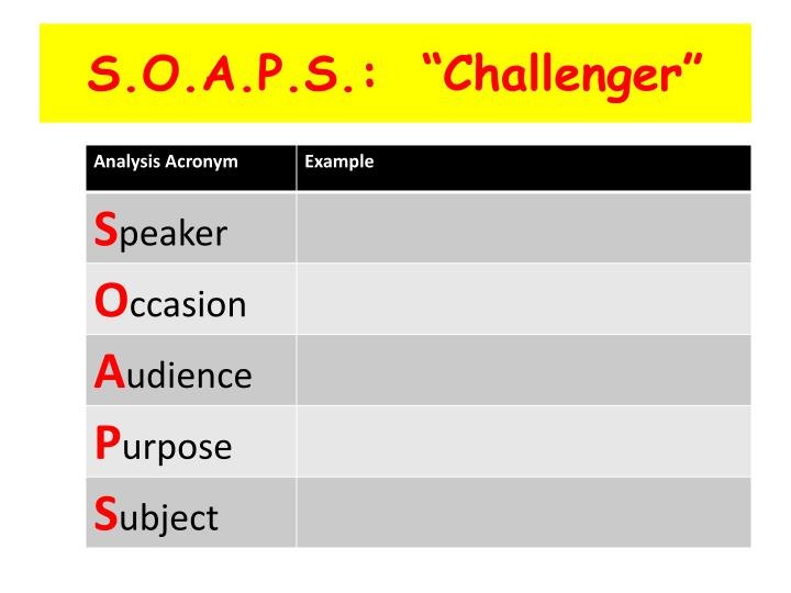"""S.O.A.P.S.:  """"Challenger"""""""