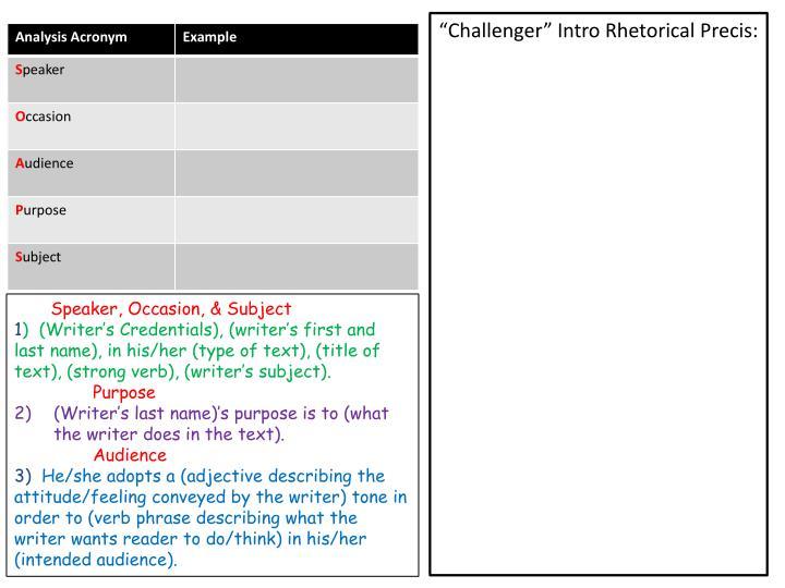 """Challenger"" Intro Rhetorical"