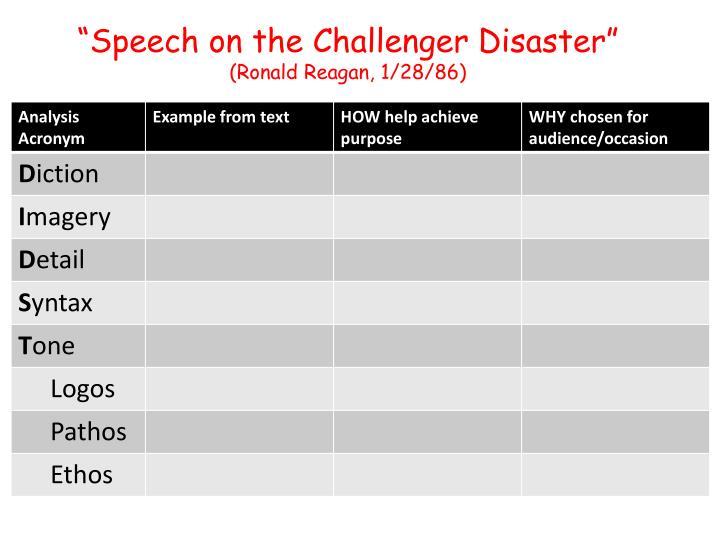 """Speech on the Challenger Disaster"""