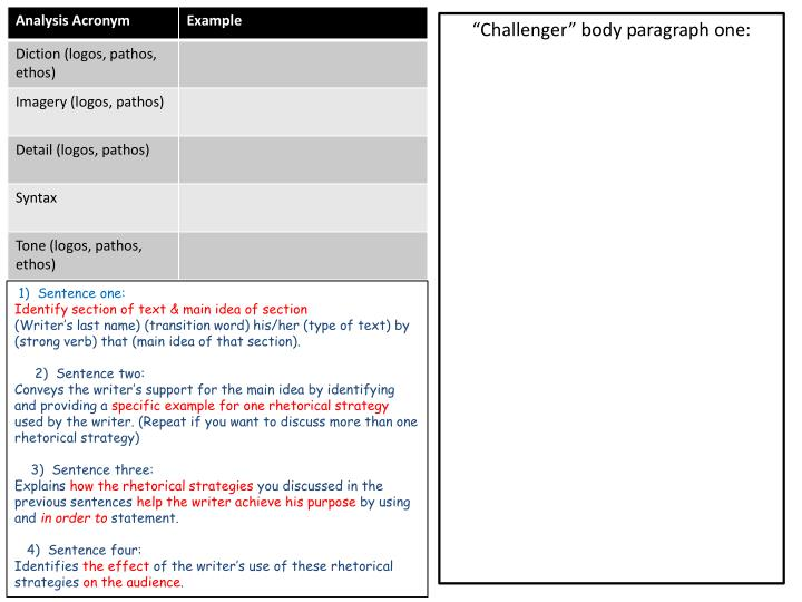 """""""Challenger"""" body paragraph one:"""