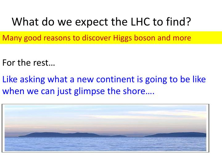 What do we expect the LHC to find?