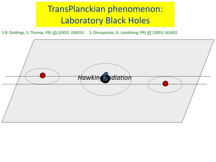 TransPlanckian phenomenon: Laboratory Black Holes