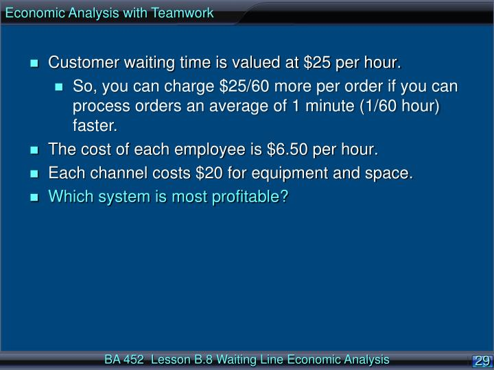 Economic Analysis with Teamwork