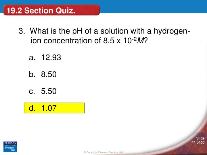 19.2 Section Quiz.