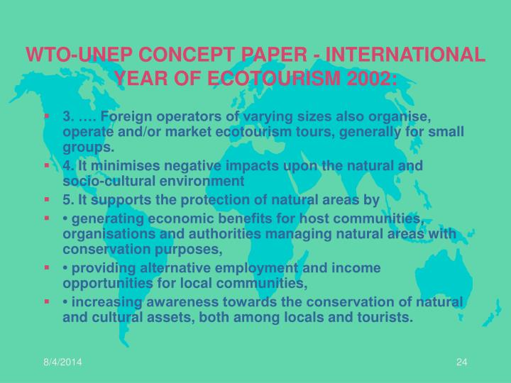 WTO-UNEP CONCEPT PAPER - INTERNATIONAL YEAR OF ECOTOURISM 2002: