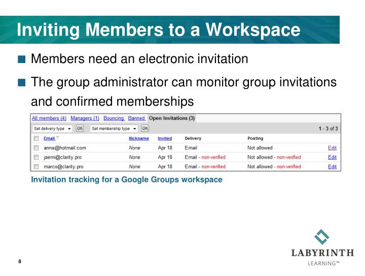 Inviting Members to a Workspace