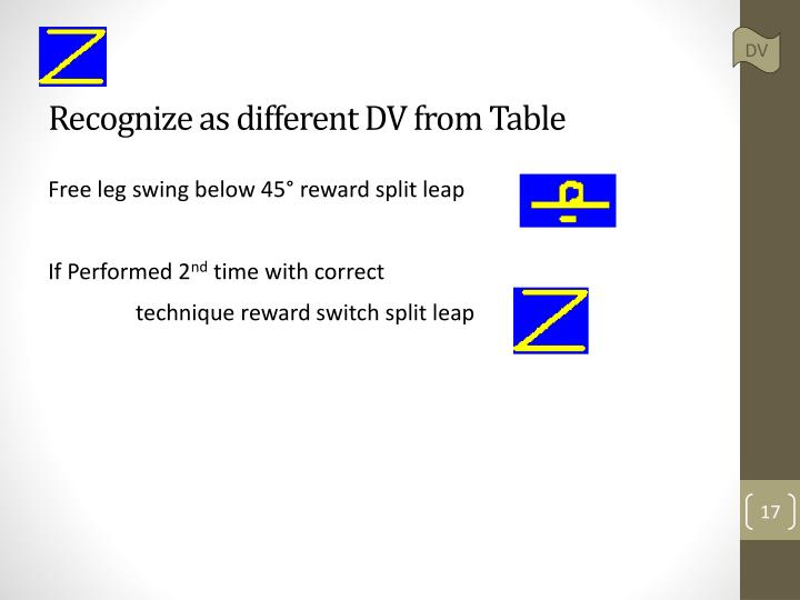 Recognize as different DV from Table