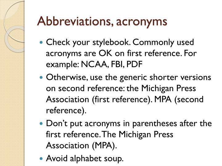 Abbreviations, acronyms