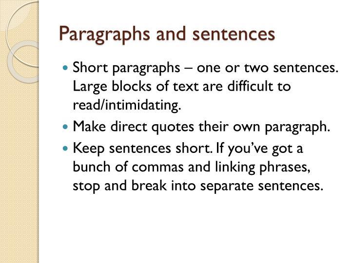 Paragraphs and sentences