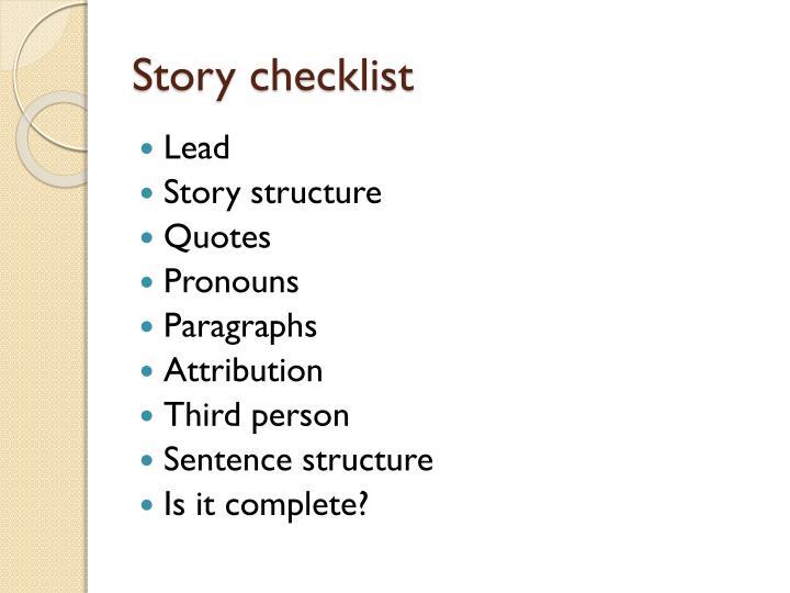 Story checklist