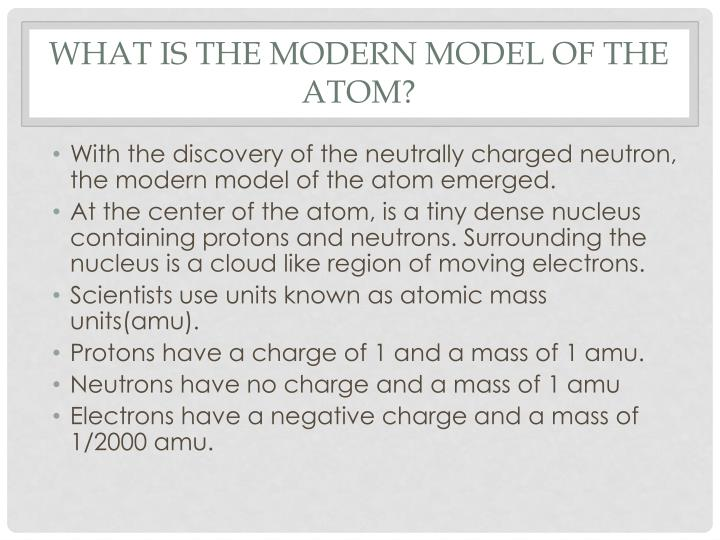 What is the modern model of the atom?
