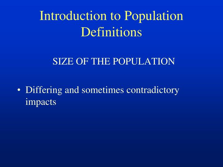 Introduction to Population