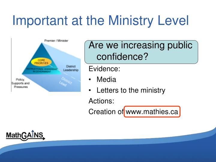 Important at the Ministry Level