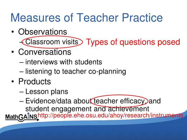 Measures of Teacher Practice