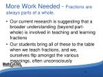 more work needed fractions are always parts of a whole