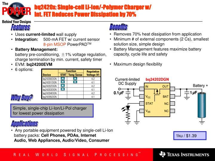 bq2420x: Single-cell Li-Ion/-Polymer Charger w/