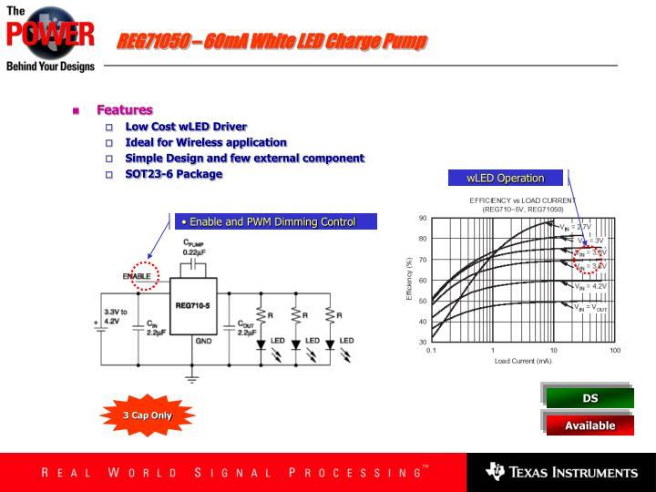 REG71050 – 60mA White LED Charge Pump