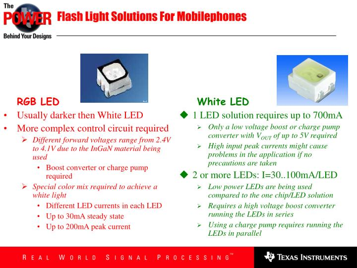 Flash Light Solutions For Mobilephones
