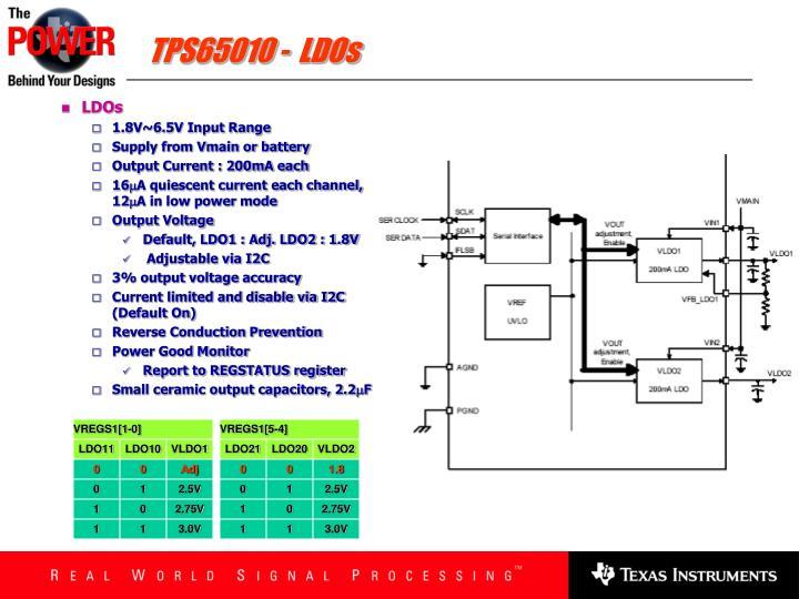 TPS65010 -  LDOs