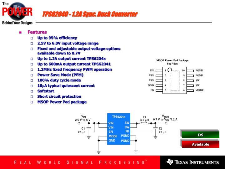 TPS62040 - 1.2A Sync. Buck Converter