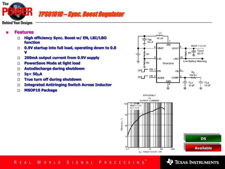TPS61010 – Sync. Boost Regulator
