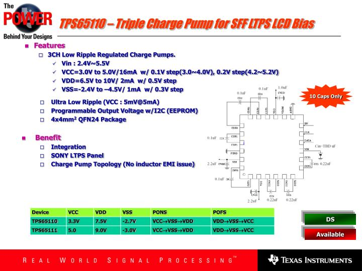 TPS65110 – Triple Charge Pump for SFF LTPS LCD Bias