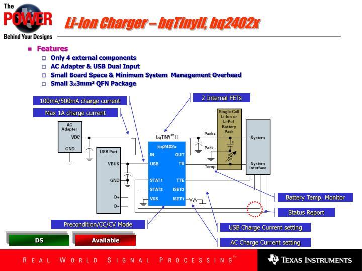 Li-Ion Charger – bqTinyII, bq2402x