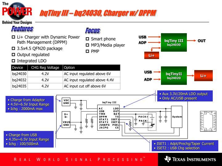 bqTiny III – bq24030, Charger w/ DPPM