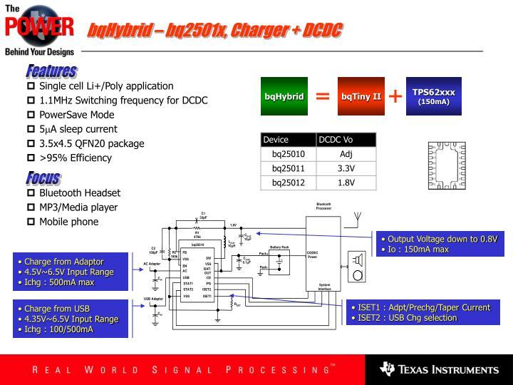 bqHybrid – bq2501x, Charger + DCDC