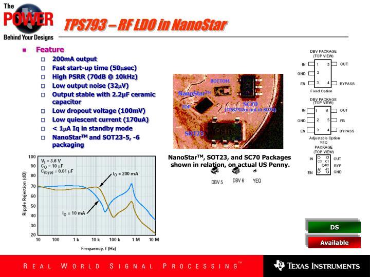 TPS793 – RF LDO in NanoStar