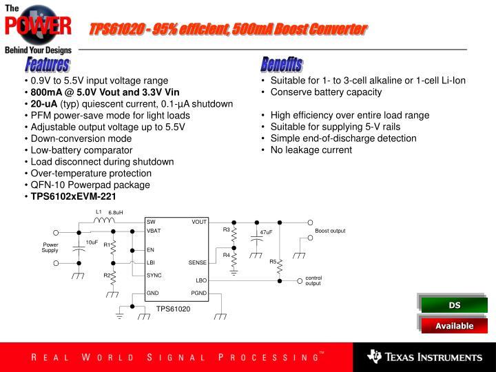 TPS61020 - 95% efficient, 500mA Boost Converter