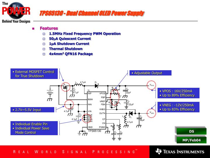 TPS65130 - Dual Channel OLED Power Supply